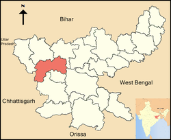 Location of Latehar district in Jharkhand