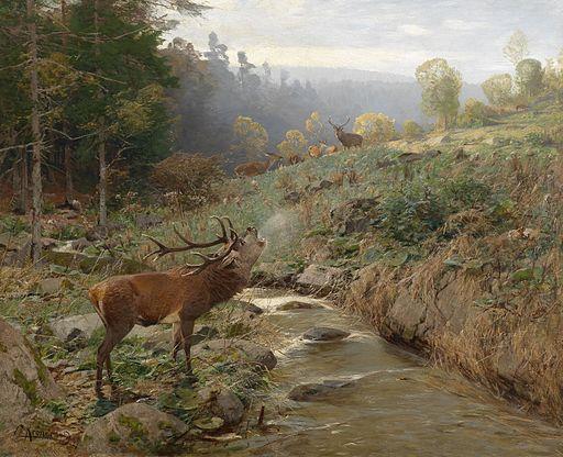 Johann Christian Kröner Rotwildrudel auf einer Waldlichtung 1899