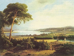 Potsdam, Ansicht mit Caputh vom Krähenberg aus