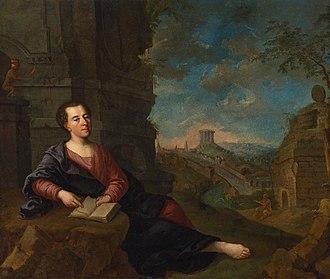 Johann Joachim Winckelmann - Portrait of Johann Joachim Winckelmann against classical landscape, after 1760 (Royal Castle in Warsaw)