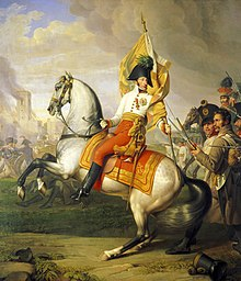 Erzherzog Karl mit der Fahne des Regiments Zach in der Schlacht bei Aspern, Gemälde von Johann Peter Krafft, HGM. (Quelle: Wikimedia)