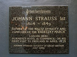 Johann strauss 1st 1804 1849 father of the waltz dynasty and composer of the radetzky march lodged here (formerly hotel du commerce) on his first visit to england in april 1838.