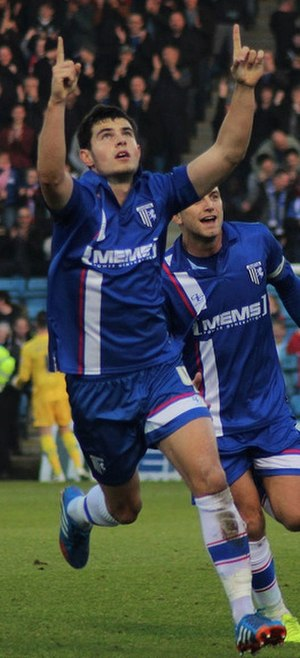 John Egan (footballer, born 1992) - Egan celebrating a goal for Gillingham in 2014.