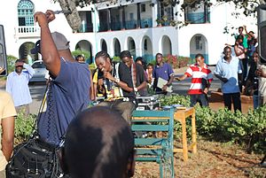 Jua Cali - Juacali shooting the Hello tunes commercial at Nairobi Primary