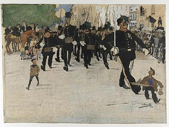 Garde Civique - 1912 caricature of the Garde Civique on patrol in the city of Ghent by the artist Jules De Bruycker