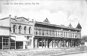 Junction City, Oregon - Junction City hotel block in 1908