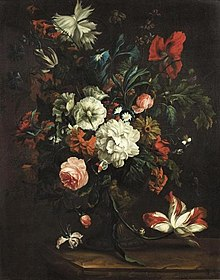 Justus van Huysum - Flowers in a vase on a stone slab.jpg