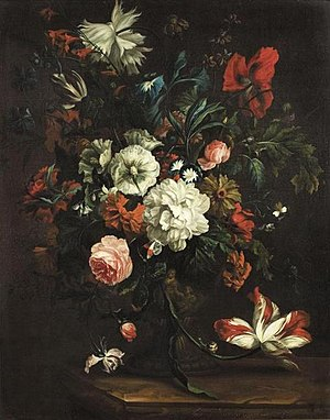 Justus van Huysum - Flowers in a vase on a stone slab, 1693