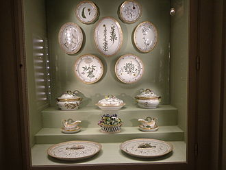 Flora Danica - Part of the original Flora Danica dinner set on display in the Flora Danica Cabinet at Christiansborg Palace in Copenhagen.