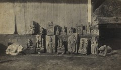 KITLV 106692 - Isidore van Kinsbergen - Sculptures from the Dijeng plateau, found around the temple ruins and lined up at the pasanggrahan Dieng in Wonosobo - 1864-07-1864-09.tif