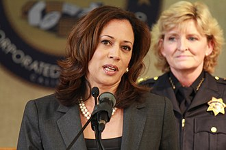 Kamala Harris - Harris holding a press conference with law enforcement agents