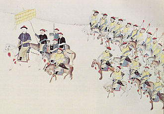 Kangxi Emperor - The Emperor mounted on his horse and guarded by his bodyguards