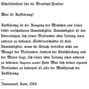 Johann Gottlob Immanuel Breitkopf - An excerpt from Immanuel Kant's What is Enlightenment? as a sample of the font Breitkopf Fraktur
