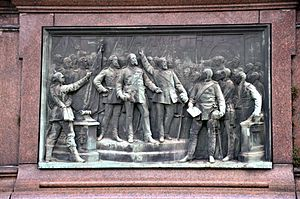 Founding of the German Empire - Proclamation of the Emperor in Versailles (Relief on the base of the Kaiser Wilhelm monument from 1897 in Karlsruhe