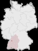 Deutschlandkarte, Position von Pforzheim hervorgehoben