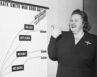 "Series E bond - Kate Smith in September 1944: ""No single show-business figure even approached her as a seller of War Bonds during World War II"", wrote The New York Times. Her grand total exceeded $600 million."