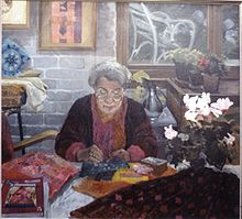 Painting of Kathleen Whyte at work