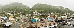 View from a cruise ship of the Newtown area of Ketchikan. In the foreground is the intersection of Schoenbar Rd. and Water Street.