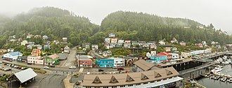 Ketchikan, Alaska - View from a cruise ship of the Newtown area of Ketchikan.  In the foreground is the intersection of Schoenbar Rd. and Water Street.