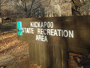 Kickapoo State Recreation Area - Entrance sign to Kickapoo State Recreation Area