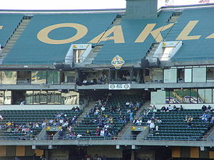 Mount Davis (Oakland) - The tarp on the main grandstand; this section of tarp was removed in 2017, but the tarp on Mount Davis remains