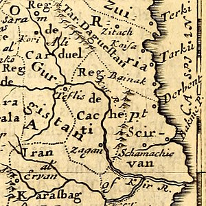 Zagem - A portion of the 1693 map by Robert Morden showing the Kingdom of Kakheti (Reg. de Cachet) with the town of Zagem (Zagan).