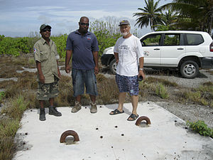 Kiritimati - The bombs were hoisted by balloon; this is the East Point balloon anchor.