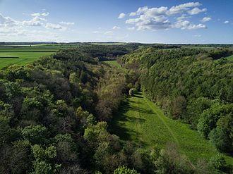 Kirkdale, North Yorkshire - Aerial view of Kirkdale looking north towards Bransdale.