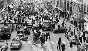 Dagen H - Kungsgatan, Stockholm, on Dagen H., 3 September 1967, during the night Sweden had changed from left-side traffic to right-side traffic.