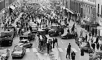 Left- and right-hand traffic - Traffic moves from left to right in Stockholm, Sweden, on 3 September 1967