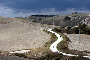 "Strade Bianche - One of the strade bianche in the province of Siena, pictured during the ""Eroica"" granfondo."