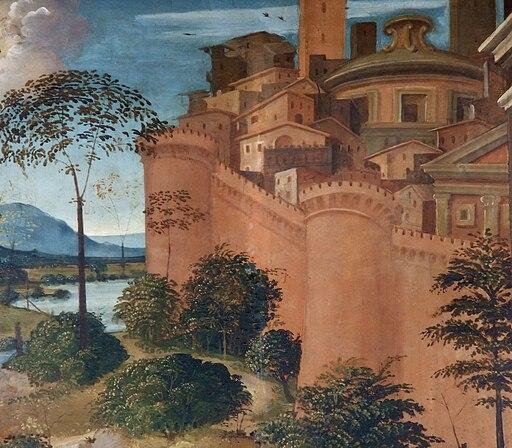 Vincenzo Tamagni, L'Incontro di San Gioacchino e Sant'Anna alla Porta Aurea (particolare della città)