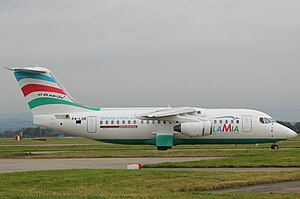 LaMia Flight 2933 - Avro RJ85 serial number E.2348 (the aircraft involved) in 2013, bearing its previous registration marks