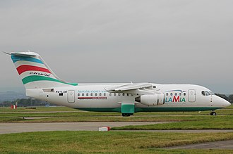 LaMia Flight 2933 - The Avro RJ85 involved, photographed in 2013 still with its previous registration marks