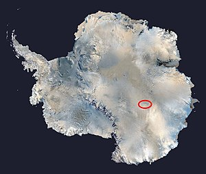 The location of Vostok Station in Antarctica