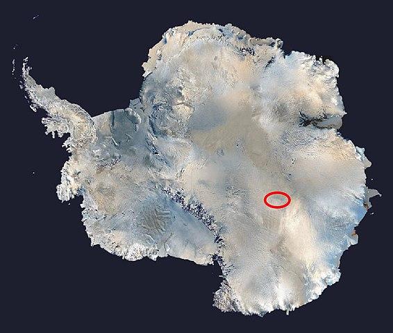 Localización del lago Vostok en la Antártida