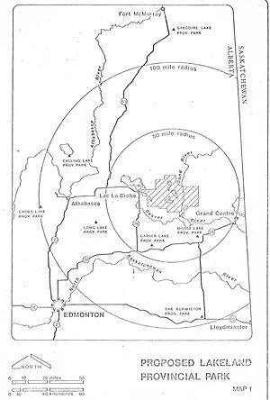 Lakeland Provincial Park and Recreation Area - Nearby population centres - map from Government of Alberta planning documents