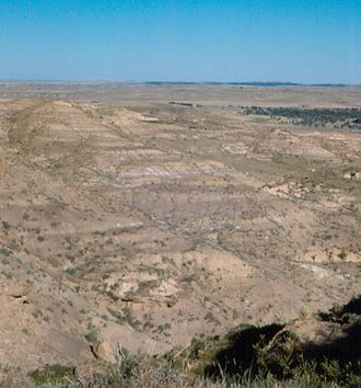 Lance Formation - Badlands in the Lance Formation along Cow Creek near the type locality. Niobrara County, Wyoming