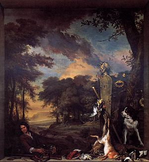 Samuel Wiselius - Landscape with a Huntsman and Dead Game (Allegory of the Sense of Smell) by Jan Weenix. This painting is in the National Galleries of Scotland in Edinburgh, Scotland.