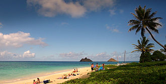 Lanikai Beach - Lanikai Beach with the twin islands of Nā Mokulua off shore