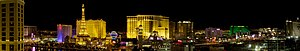 English: Night Panorama of the Las Vegas Strip...