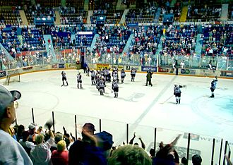Hersheypark Arena - Bears players salute fans after final game at Hersheypark Arena