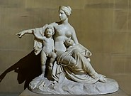 Latona with the infants Apollo and Artemis, by Francesco Pozzi, 1824, marble - Sculpture Gallery, Chatsworth House - Derbyshire, England - DSC03504