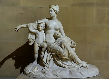 Leto with Apollo and Artemis, by Francesco Pozzi Latona with the infants Apollo and Artemis, by Francesco Pozzi, 1824, marble - Sculpture Gallery, Chatsworth House - Derbyshire, England - DSC03504.jpg