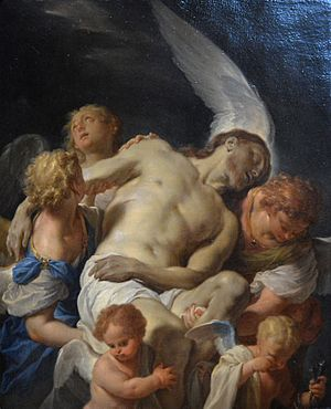 Dead Christ Supported by Angels