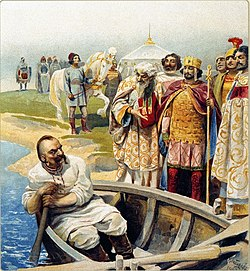 Man in plain white clothes and alone in a rowboat, arrives on a shore where a group of richly dressed men stand and  await him, among them a crowned man in golden armour