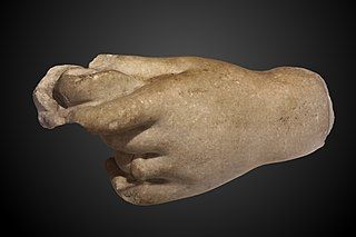 left hand of a statue