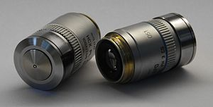 Oil immersion - Two Leica oil immersion objective lenses. Oil immersion objective lenses look superficially identical to non-oil immersion lenses.