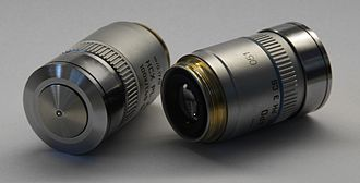 Optical microscope - Two Leica oil immersion microscope objective lenses: 100× (left) and 40× (right)