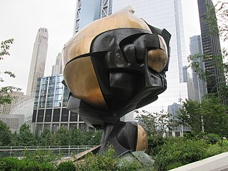 <i>The Sphere</i> Fritz Koenig sculpture damaged in September 11, 2001, terror attacks